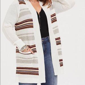 Torrid Ivory Stripe Shawl Knit Cardigan Sz 3X